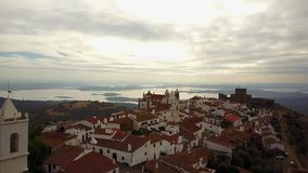 Historic Monsaraz on the hill by lake in Alentejo, Portugal stock video