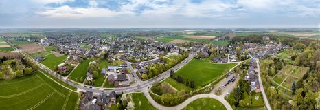 Aerial view of the historic old town Liedberg in NRW, Germany.  stock photography