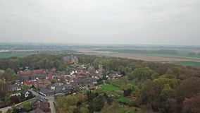 Aerial view of the historic old town Liedberg in NRW, Germany.  stock footage