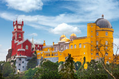 Aerial view of historic  Palace of  Pena, Portugal Stock Images