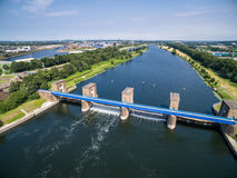 Aerial view of the historic Ruhr Weir in Duisburg Stock Images