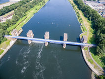 Aerial view of the historic Ruhr Weir in Duisburg Stock Photography