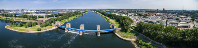 Aerial view of the historic Ruhr Weir in Duisburg Stock Photos