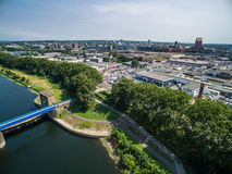 Aerial view of the historic Ruhr Weir in Duisburg Stock Image