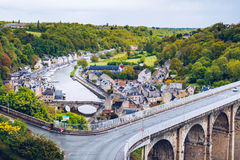 Aerial view of the historic town of Dinan with Rance river with Royalty Free Stock Image