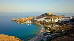 Aerial View of historic Village Lindos on Rhodes Greece Island