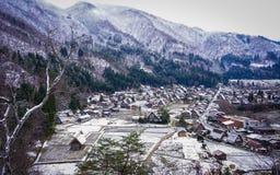 Shirakawago Historic Village in Gifu, Japan. Aerial view of Historic Village of Shirakawago at winter in Gifu, Japan Stock Photos