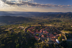 Aerial view of the historic village of Sortelha in Portugal. Concept for travel in Portugal royalty free stock photos