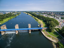 Aerial view of a historic weir Stock Image