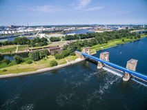 Aerial view of a historic weir Royalty Free Stock Photos