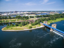Aerial view of a historic weir Royalty Free Stock Images
