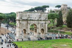 Aerial view of the historical Arch of Constantine in Rome Stock Photos