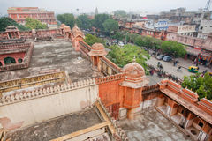 Aerial view on the historical buildings of the famous Pink City Royalty Free Stock Image