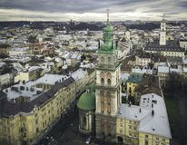 Aerial view of the historical center of Lviv. Shooting with dron Stock Images