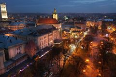 Aerial view of the historical center of Lviv, Ukraine at night royalty free stock photos