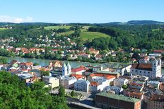 The aerial view of the historical center of Passau. Bavaria, Germany stock images