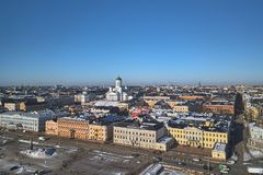 Aerial view, historical centre of Helsinki royalty free stock photos