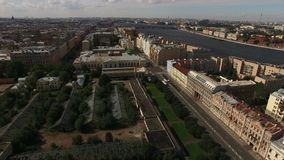Aerial view of historical centre of Saint-Petersburg with view on greenhouse and Taurian garden. Shot stock footage