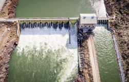 Aerial view of the historical diversion dam on Boise River Royalty Free Stock Photo