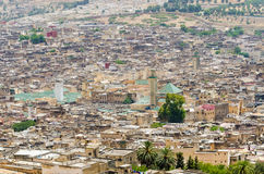 Aerial view of historical Moroccan Arabic town Fez with its city wall and soukhs.  Stock Image