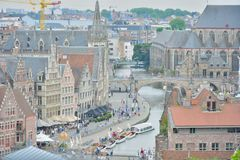 Aerial  View of the historical part of the city ghent Stock Photography