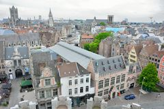 Aerial  View of the historical part of the city ghent Stock Images