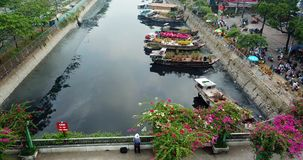 Aerial view of ho chi minh city. Above ho chi minh city stock video