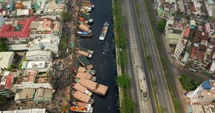 Aerial view of ho chi minh city. Above ho chi minh city stock footage