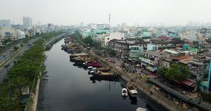 Aerial view of Ho Chi Minh City. Above Ho Chi Minh City stock video footage
