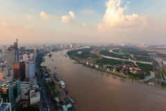 Aerial view of Ho Chi Minh city riverside Saigon at the evening Royalty Free Stock Images