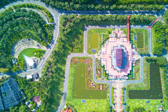 Aerial view of Ho kham luang traditional thai architecture in th Royalty Free Stock Photos