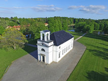 Aerial view of Hoersholm church located in Denmark. Aerial view of Hoersholm church located in Hoersholm, Denmark Royalty Free Stock Photos