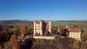 Aerial view of Hohenschwangau Castle, Germany. stock video