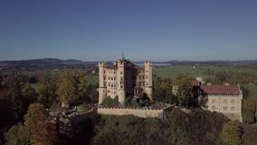 Aerial view of Hohenschwangau Castle, Germany. Untouched LOG format. stock video footage