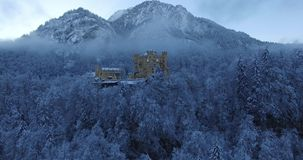 Aerial view of Hohenschwangau Castle at sunrise in stock video