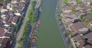 Aerial view of Hoi An old town or Hoian ancient town. Royalty high-quality free stock photo image of Hoi An old town. Hoi An is UNESCO world heritage, one of stock video