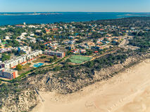 Aerial View Holiday Village near Sandy Beach Stock Image