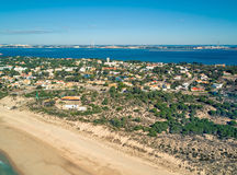 Aerial View Holiday Village near Sandy Beach Royalty Free Stock Photo