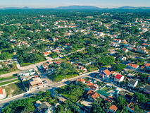 Aerial View Holiday Village near Sandy Beach Royalty Free Stock Photography