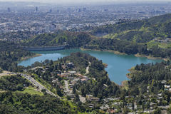 Aerial view of the Hollywood Reservoir. Of Los Angeles, California Royalty Free Stock Photography