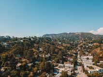 Aerial view on the Hollywood sign district in Los Angeles stock photo