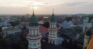 Aerial view of Holy Cross Greek Catholic Cathedral in Uzhhorod, Transcarpathia, Ukraine. 4k stock video footage