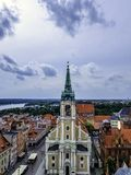 Aerial view of the Holy Spirit Church - Torun, Poland. Aerial view of the Holy Spirit Church in Torun, Poland stock photo