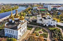 Aerial view on Holy Trinity Monastery. Tyumen. Tyumen, Russia - September 17, 2015: Aerial view on Holy Trinity Monastery. Church of Saints Peter and Paul and stock photo