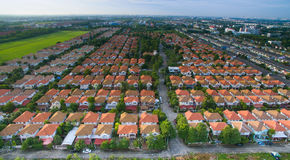 Aerial view of home ,house residential area with good environmen Royalty Free Stock Photo
