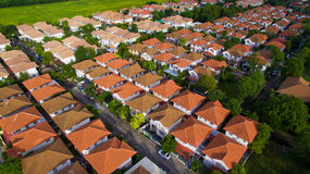 Aerial view of home village and green envrionmental in bangkok t Stock Photography