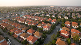 Aerial view of home village in thailand use for land development. And property real estate business royalty free stock photo
