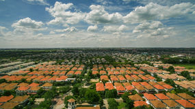Aerial view of home village in thailand use for land development Stock Photo