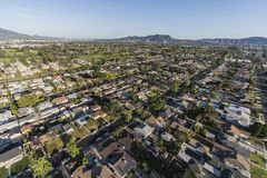 Los Angeles San Fernando Valley Homes Afternoon Aerial Royalty Free Stock Images
