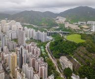 Aerial view of Hong Kong apartments in cityscape background, Sham Shui Po District. Residential district in smart city in Asia. T. Op view of buildings royalty free stock photography